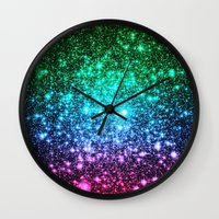 glitter Wall Clocks featuring glitter Cool Tone Ombre by 2sweet4words Designs