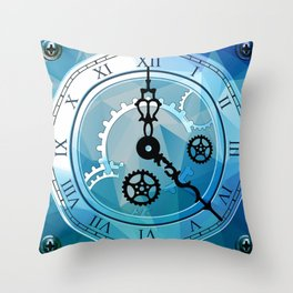 Blue Clock Throw Pillow