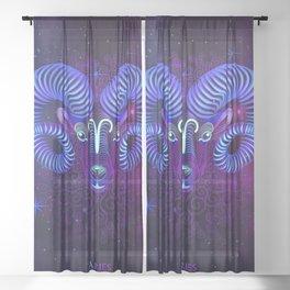 Zodiac neon signs — Aries Sheer Curtain