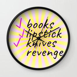 My Checklist...Books, Lipstick, Knives, and Revenge Wall Clock
