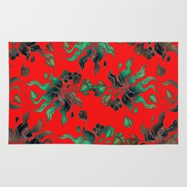 Vintage floral seamless pattern with hand drawn flowering crocus on the red background Rug