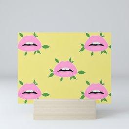 Lips with Leaves Multi Mini Art Print