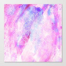Modern hand painted pink lilac watercolor mandala pattern Canvas Print