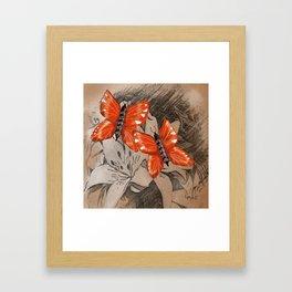 Butterflies and Lillies Framed Art Print