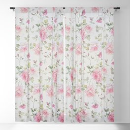 Elegant blush pink white vintage rose floral Blackout Curtain