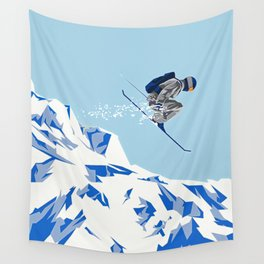 Airborn Skier Flying Down the Ski Slopes Wall Tapestry