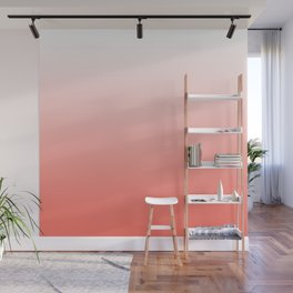 Living Coral Ombre - Coral and White Wall Mural