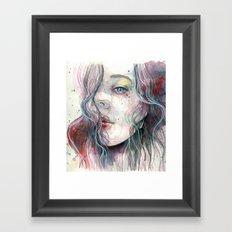 Sleepy violet, watercolor Framed Art Print