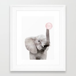 Bubble Gum Baby Elephant Framed Art Print