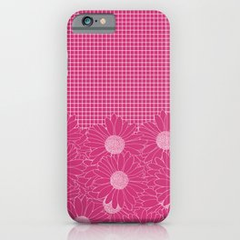 Daisy Grid Hot Pink iPhone Case