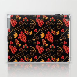 Traditional russian khokhloma print with berries and floral motives Laptop & iPad Skin