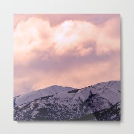 Kenai Mts Bathed in Serenity Rose Metal Print