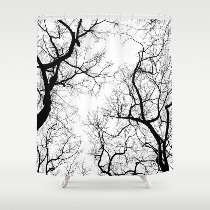 Black And White Tree Top Silhouettes Shower Curtain By Belkat1981