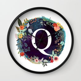 Personalized Monogram Initial Letter Q Floral Wreath Artwork Wall Clock