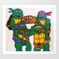 ninja turtles Art Prints featuring Ninja Turtles by Hannah Bolotin