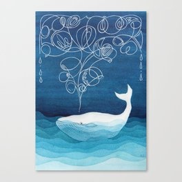 Happy whale, animals sea creature, teal blue watercolor Canvas Print