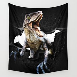 Funny Raptor Dinosaur Poking Head, Cracked Wall Wall Tapestry