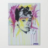 hepburn Canvas Prints featuring Hepburn  by Michael J Illustrations