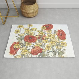 Buttercup and poppy watercolour Rug