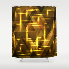 Gold foil and yellow intersections on a dark metal background. Shower Curtain