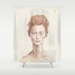 Red Head Smirk Shower Curtain