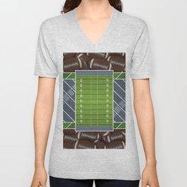 Slate Gray Football Field and Footballs Unisex V-Neck