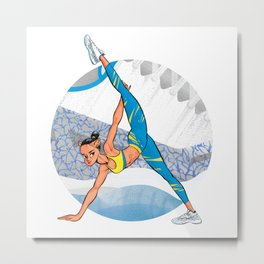 Sneaker Badge: Yoga girl Cool Noodle and Air Jordan 11 Metal Print