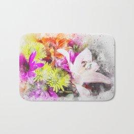 Pretty Watercolour Floral Bouquet Bath Mat