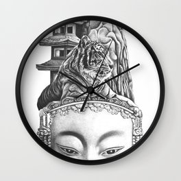 Chinese Mask Wall Clock