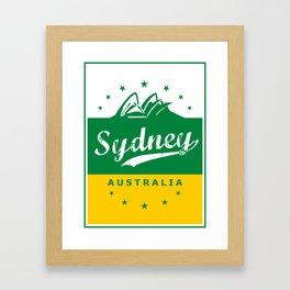 Sydney City, Australia, green yellow, poster Framed Art Print