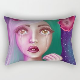 Crying Alien Girl in Space Rectangular Pillow