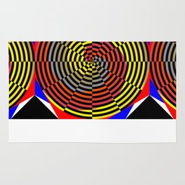 Red Yellow Blue Spiral Rug