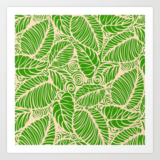 Summer Leaves Green Art Print