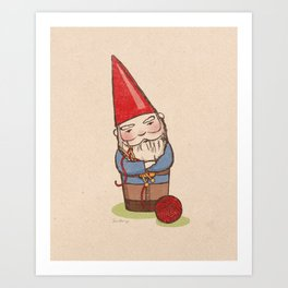 Knitting Gnome Art Print