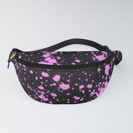 Modern Pink and Black Splatter Abstract Fanny Pack