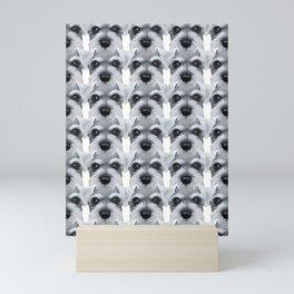 Schnauzer pattern-Grey Dog illustration original painting print Mini Art Print