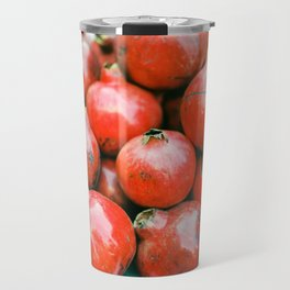 Red pomegranates on a fruit cart in Marrakech Morocco   Colorful travel food photography Travel Mug