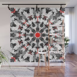 Black red white emo fluid circle Wall Mural