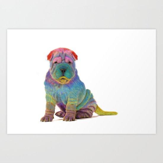 Colorful Sharpei Art Print
