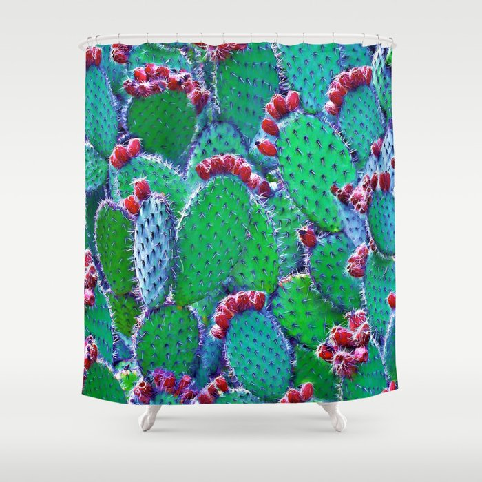 Flowering cacti Shower Curtain