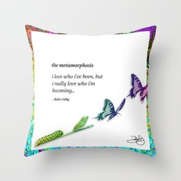 The Metamorphosis - Caterpillar becoming Butterfly Throw Pillow