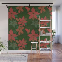 Serene Poinsettia Vintage Red On Green  Wall Mural