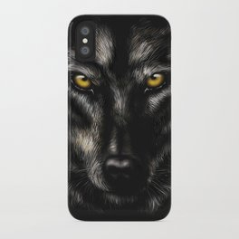 hand-drawing portrait of a black wolf on a black background iPhone Case