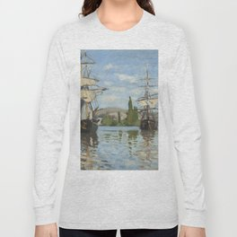 Claude Monet Ships Riding on the Seine at Rouen 18721873 Painting Long Sleeve T-shirt