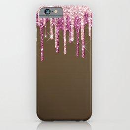Beautiful Glittered Ice Cream Dripping Pattern iPhone Case