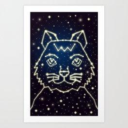 Cat and Stars Art Print