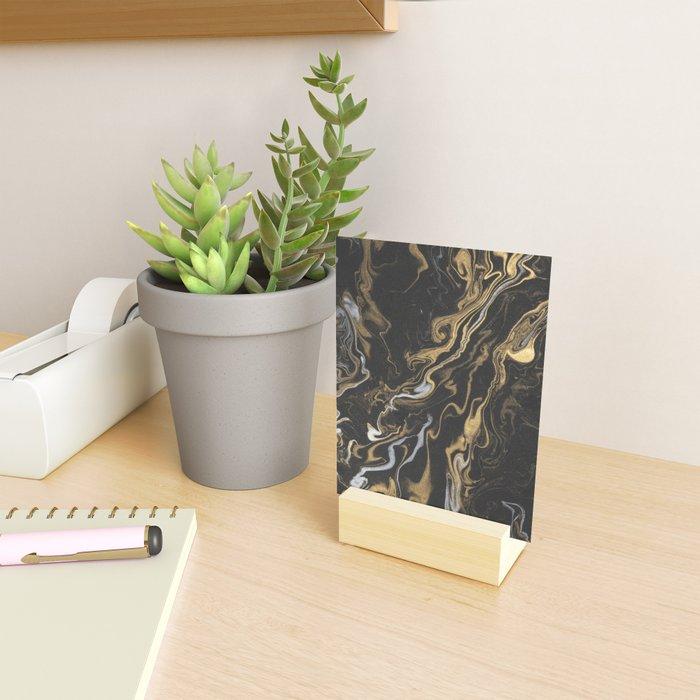 marble black and gold luxury Mini Art Print