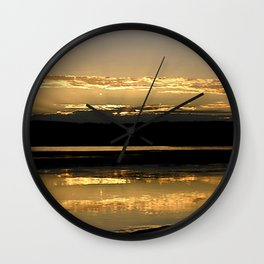 Sunsetting on a golden Pond Wall Clock