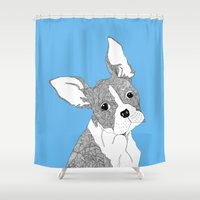 french bulldog Shower Curtains featuring French Bulldog by caseysplace