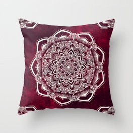 White mandala on deep red ink Throw Pillow